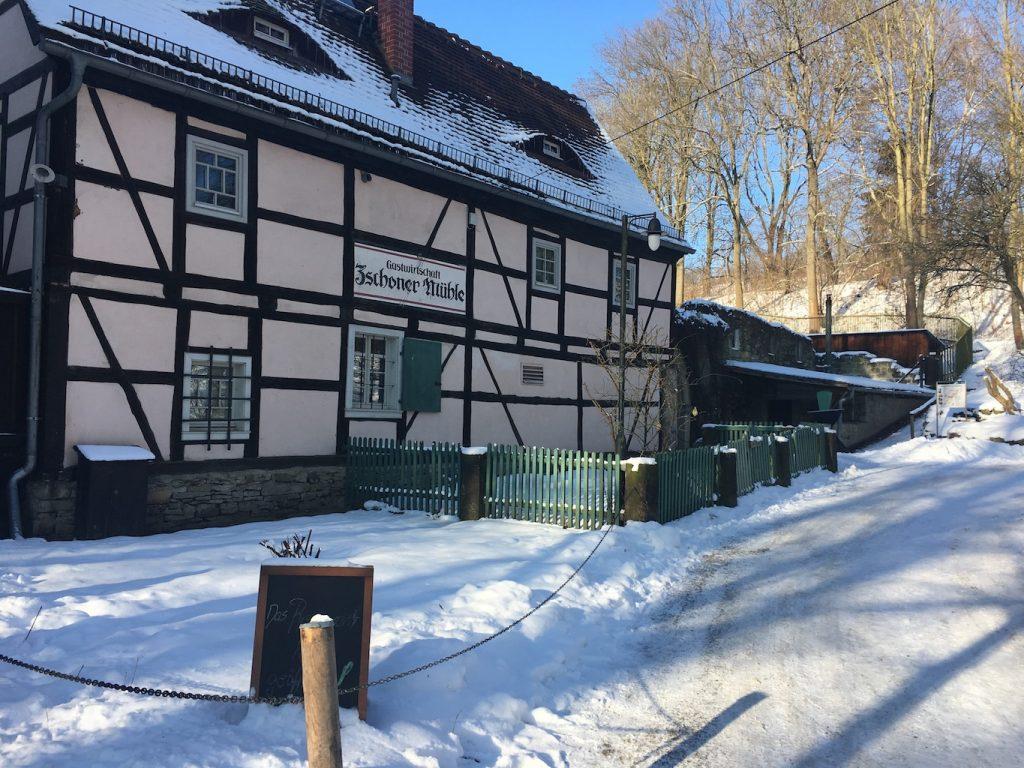 Zschoner Mühle im Winter
